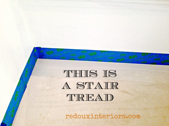 black and white stairs taping off redouxinteriors