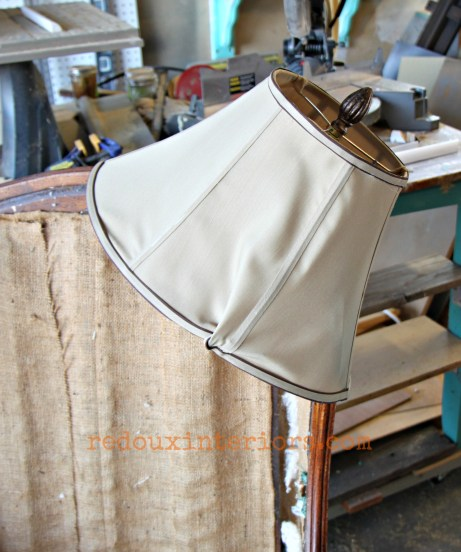 Dumpster lampshade with finial redouxinteriors
