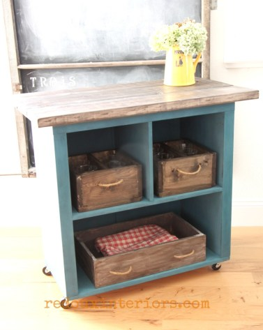 bookshelf turned cart with wood boxes redouxinteriors