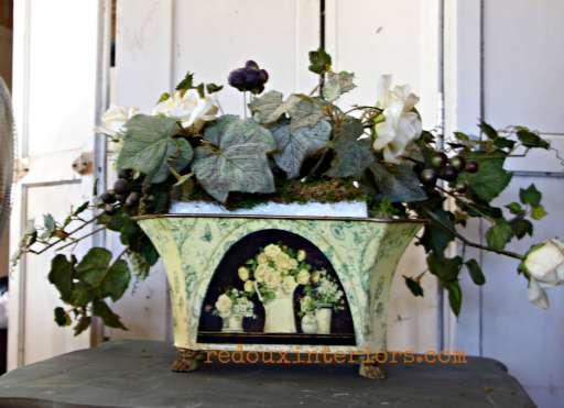dumpster found floral pot redouxinteriors
