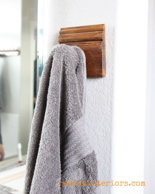 Towel rack made from moulding and junk redouxinteriors