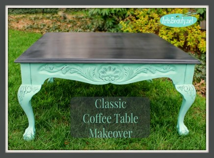 black and blue full coffee table makeover