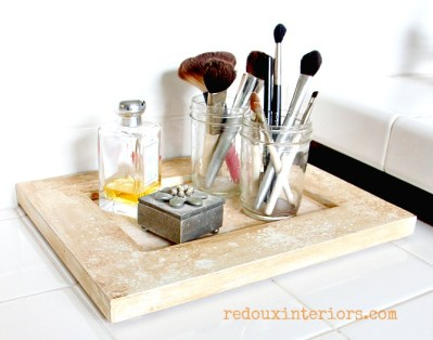 old cabinet door turned makeup tray redouxinteriors