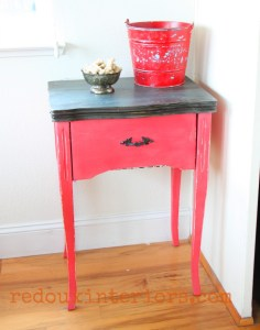 Sewing Cabinet Painted Red and Waxed