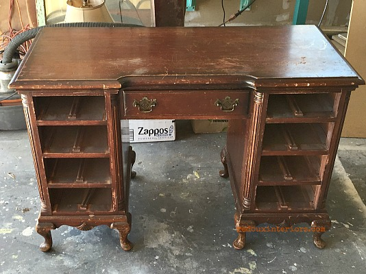 CeCe Caldwell's Blue and Copper desk redouxinteriors before