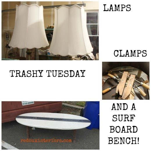 lamps clamps and a surf board bench dumpster finds redouxinteriors