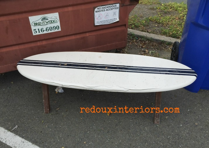 surfboard bench found in trash redouxinteriors