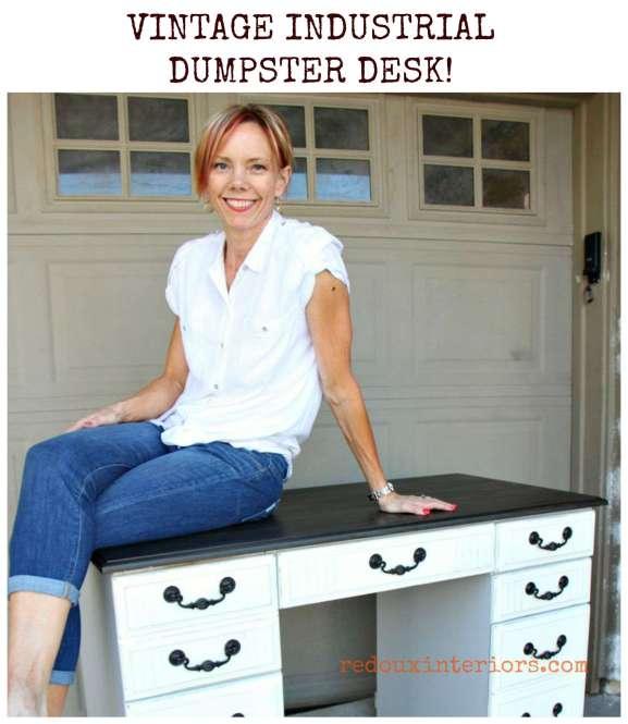 Vintage Industrial Dumpster Desk cece caldwells grey Redouxinteriors