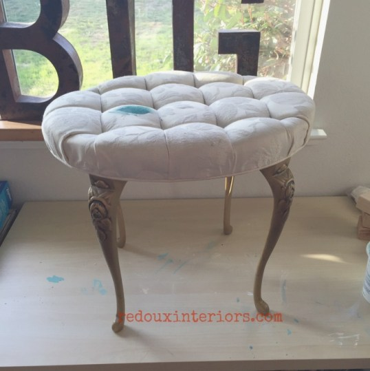 fabric painted stool before cece caldwells redouxinteriors
