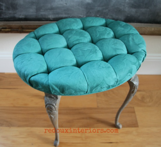 peacock blue cece caldwells fabric painted stool redouxinteriors 4