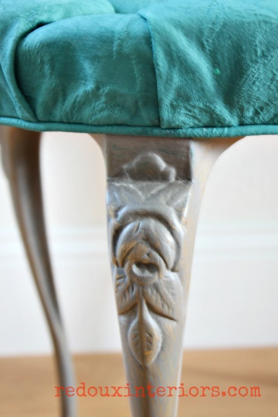 peacock blue cece caldwells painted fabric stool redouxinteriors3