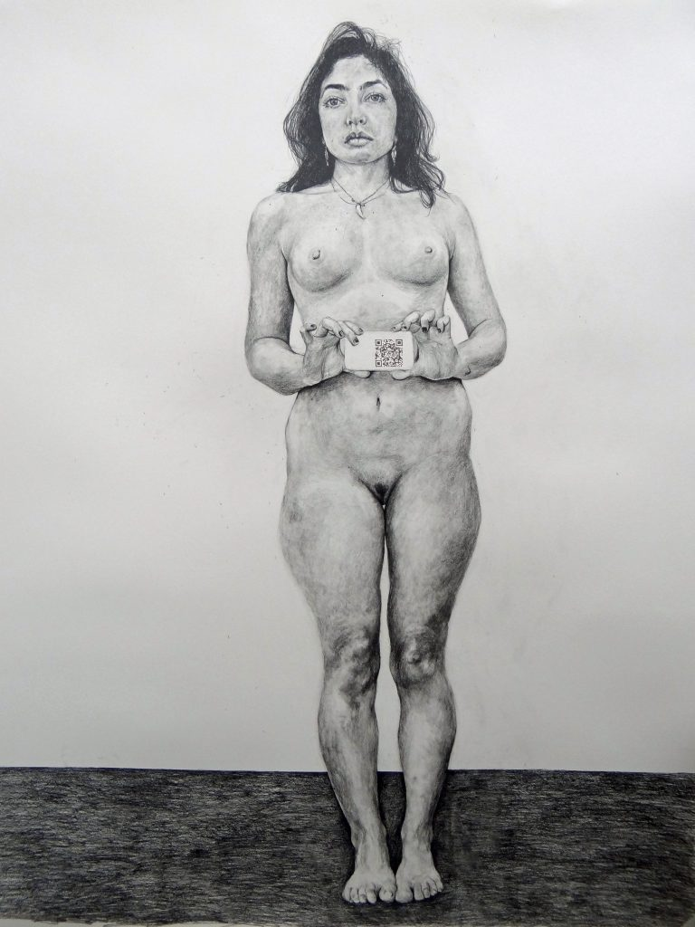 Phoebe Boswell, Standing Tall, 2017, pencil on paper, 150 x 120cm. Beeld: Phoebe Boswell en Tiwani Contemporary