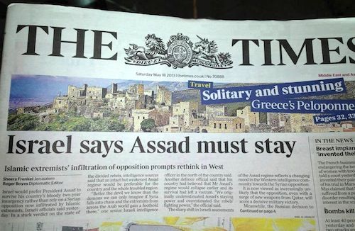 Image result for israel says assad must stay