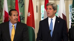 John Kerry and Hamad al-Thani