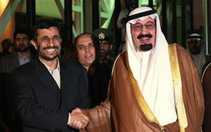 Saudi King Abdallah shaking hands with Iranian President Ahmadinejad