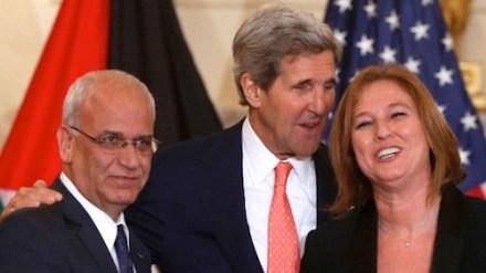 John Kerry, Saeb Erekat and Tzipi Livni