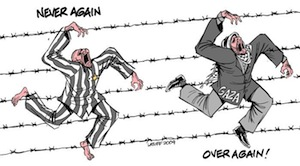 Carlos Latuff's cartoon Never Again - Over Again