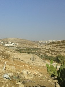Wadi Fuqeen on the left and the illegal settlement of Beitar Illit on the right.