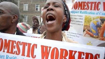 Domestic workers protesting