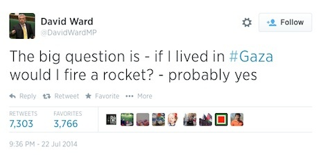 Gaza tweet by David Ward MP, 9:36 PM, 22 July 2014