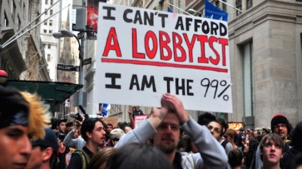 Anti lobby demonstration