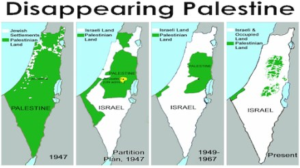 Map showing how Palestine is being swallowed up by Jewish squatter colonies