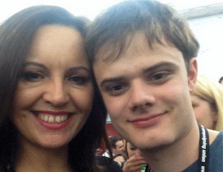 Alex Chalmers posing with failed Labour Party deputy leadership bidder Caroline Flint