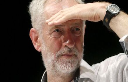 Jeremy Corbyn looking afar