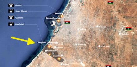 Map showing Ganfouda, south-west of Benghazi