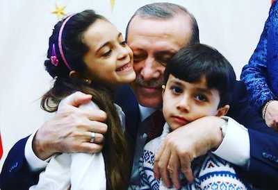 Bana Alabed, her brother and Turkish President Recep Tayyip Erdogan