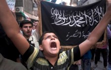 Supporters of Syria's Al-Qaeda-affiliated Nusra Front demonstrating