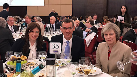 Theresa May with Israel's UK Envoy Mark Regev and Israeli Deputy Foreign Minister Tzipi Hotovely (Photo: Jon Rifkin)