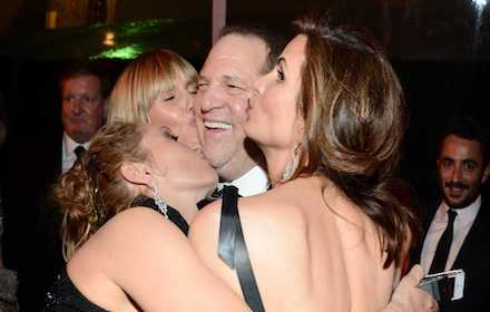 Young actresses kissing Harvey Weinstein
