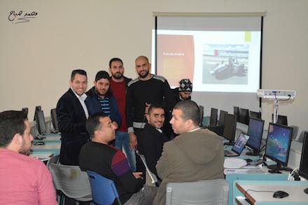 The Formula Student team at Al-Najah University, Nablus. Project leader Dr Mahmoud Assad is second from left.