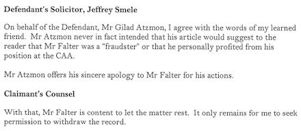 Atzmon vs Falter - Anwälte Aussagen