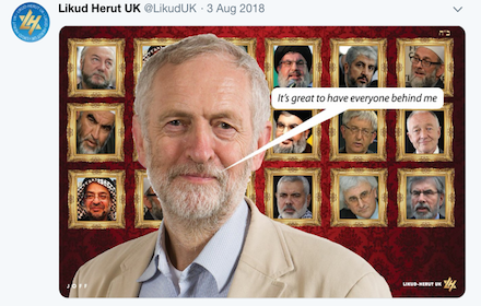 Offensive picture posted by Likud UK insulting Jeremy Corbyn