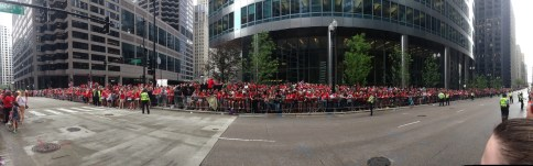 Fans lined up, waiting for the parade.