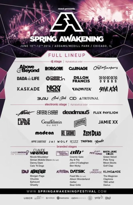 Official lineup poster for this year's Spring Awakening Music Festival
