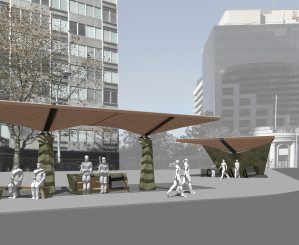 A perspective view of Redshift's North Sydney Bus stop, showing the bus stop modules and related canopy subway entrance.