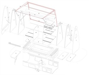 The exploded axonometric shows how the PAD is predmoninantly made of The exploded axonometric shows how the PAD is predominantly made of flat or rolled sheet aluminium and off the shelf components.
