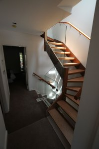 An open timber stair runs form the first floor to the attic. A skylight over this stair ensures that the centre of the home is light and often sunny, with the openness of the stair aiding in this delight.
