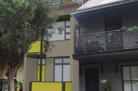 Photomontage of the street view of the propose Surry Hills terrace.