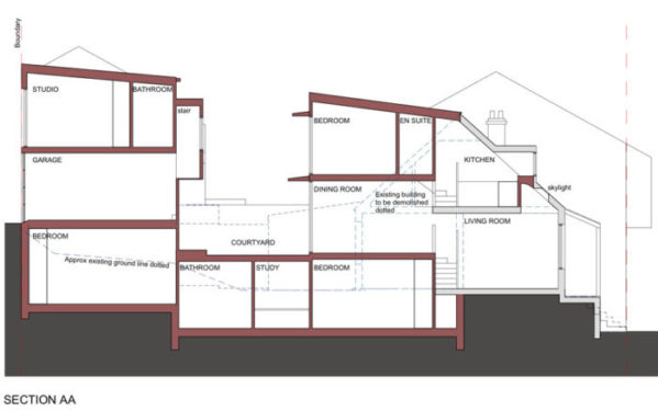 Section AA - longitudinal section through proposed alterations and additions.
