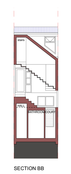 Section BB - transverse Section through studio stair.