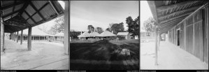 View of the courtyard, distant view and verandah of the the homestead at Balala Station, Uralla