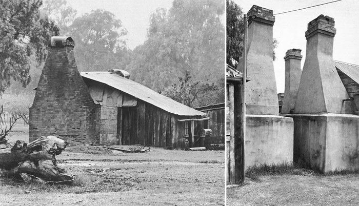 Traditional chimney forms on buildings from regional NSW.