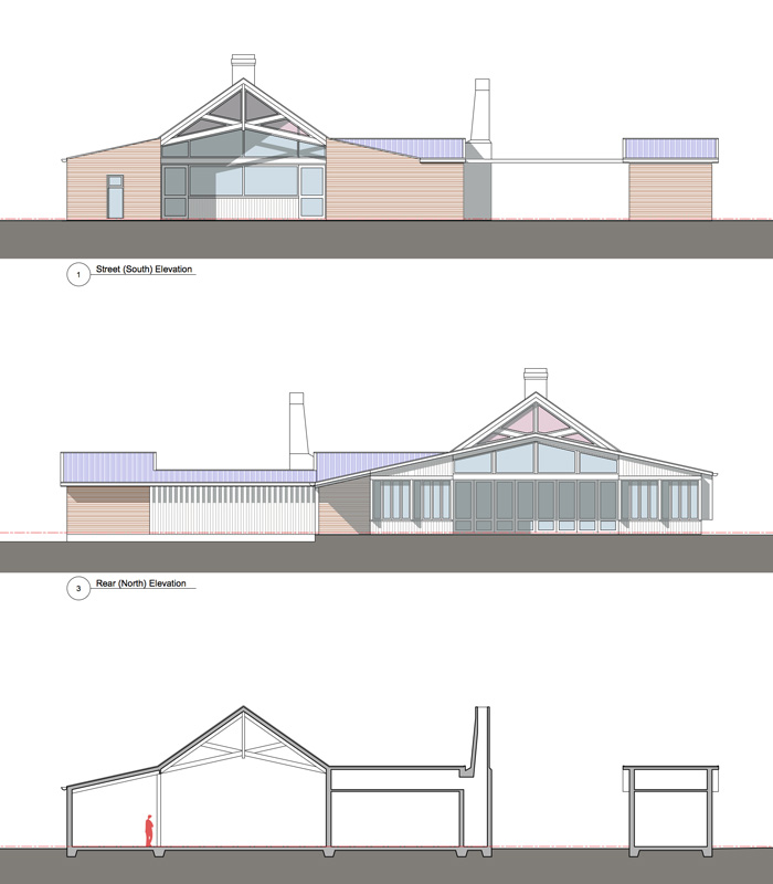 Preliminary drawings. South (street)  Elevation, North Elevation, Section through Bar and Kitchen .(top to bottom)