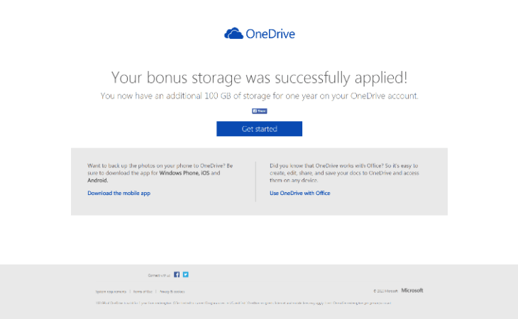 100 GB free OneDrive storage success