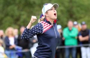 Paula Creamer gewinnt den Solheim Cup für Team USA. Foto: DGV/stebl