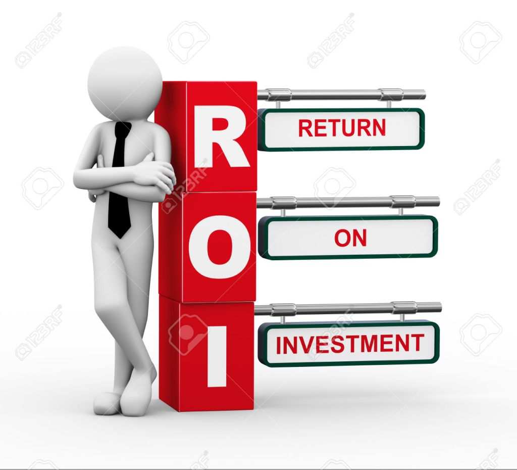 3d rendering of business person standing with roi - return on investment. 3d white people man character